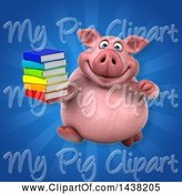 Swine Clipart of 3d Chubby Pig Holding a Stack of Books by Julos