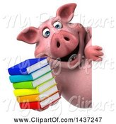 Swine Clipart of 3d Chubby Pig Holding a Stack of Books, on a White Background by Julos