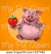 Swine Clipart of 3d Chubby Pig Holding a Strawberry by Julos
