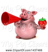 Swine Clipart of 3d Chubby Pig Holding a Strawberry, on a White Background by Julos