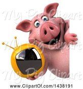 Swine Clipart of 3d Chubby Pig Holding a Tv, on a White Background by Julos