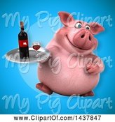 Swine Clipart of 3d Chubby Pig Holding a Wine Tray by Julos
