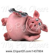 Swine Clipart of 3d Chubby Pig Holding a Wrench, on a White Background by Julos