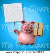Swine Clipart of 3d Chubby Pig Holding Boxes by Julos