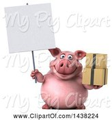 Swine Clipart of 3d Chubby Pig Holding Boxes, on a White Background by Julos