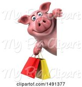 Swine Clipart of 3d Chubby Pig Holding Shopping Bags, on a White Background by Julos