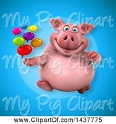 Swine Clipart of 3d Chubby Pig Holding Speech Balloons by Julos