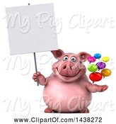 Swine Clipart of 3d Chubby Pig Holding Speech Balloons, on a White Background by Julos