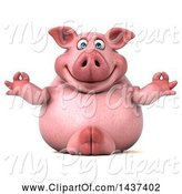 Swine Clipart of 3d Chubby Pig Meditating, on a White Background by Julos