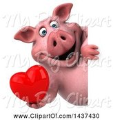Swine Clipart of 3d Chubby Pig, on a White Background by Julos