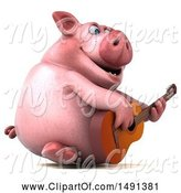 Swine Clipart of 3d Chubby Pig Playing a Guitar, on a White Background by Julos