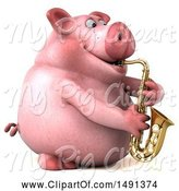 Swine Clipart of 3d Chubby Pig Playing a Saxophone, on a White Background by Julos