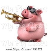 Swine Clipart of 3d Chubby Pig Playing a Trumpet, on a White Background by Julos