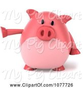 Swine Clipart of 3d Chubby Pig Pointing Left 1 by Julos