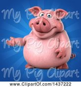 Swine Clipart of 3d Chubby Pig Presenting by Julos