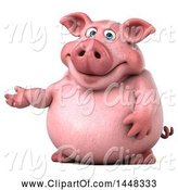 Swine Clipart of 3d Chubby Pig Presenting, on a White Background by Julos