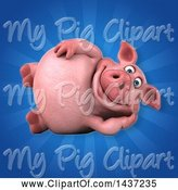 Swine Clipart of 3d Chubby Pig Resting on His Side by Julos