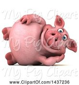 Swine Clipart of 3d Chubby Pig Resting on His Side, on a White Background by Julos