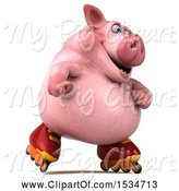 Swine Clipart of 3d Chubby Pig Roller Blading, on a White Background by Julos