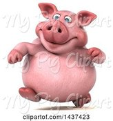 Swine Clipart of 3d Chubby Pig Running, on a White Background by Julos