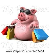 Swine Clipart of 3d Chubby Pig Shopping, on a White Background by Julos