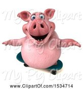 Swine Clipart of 3d Chubby Pig Skateboarding, on a White Background by Julos