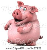 Swine Clipart of 3d Chubby Pig Walking, on a White Background by Julos