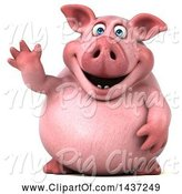 Swine Clipart of 3d Chubby Pig Waving, on a White Background by Julos