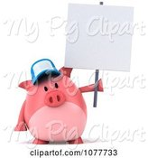 Swine Clipart of 3d Chubby Pig Wearing a Hat and Holding a Sign 2 by Julos