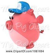 Swine Clipart of 3d Chubby Pig Wearing a Hat Holding His Arms Open and Facing Left by Julos