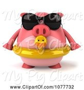 Swine Clipart of 3d Chubby Pig Wearing Shades and an Inner Tube and Facing Front by Julos