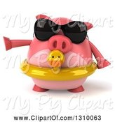 Swine Clipart of 3d Chubby Pig Wearing Sunglasses and a Duck Inner Tube and Pointing to the Left by Julos