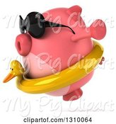 Swine Clipart of 3d Chubby Pig Wearing Sunglasses and a Duck Inner Tube, Facing Left and Jumping by Julos