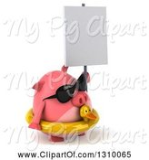 Swine Clipart of 3d Chubby Pig Wearing Sunglasses and a Duck Inner Tube, Facing Right and Holding a Blank Sign by Julos