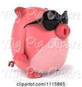 Swine Clipart of 3d Chubby Pig Wearing Sunglasses and Facing Right by Julos