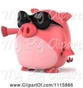 Swine Clipart of 3d Chubby Pig Wearing Sunglasses and Pointing Left by Julos
