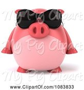 Swine Clipart of 3d Chubby Pig Wearing Sunglasses by Julos