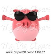 Swine Clipart of 3d Chubby Pig Wearing Sunglasses Jumping and Facing Front by Julos