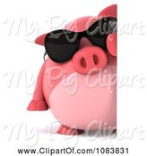 Swine Clipart of 3d Chubby Pig Wearing Sunglasses with a Sign 2 by Julos