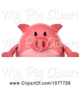 Swine Clipart of 3d Chubby Pig with a Blank Sign 1 by Julos