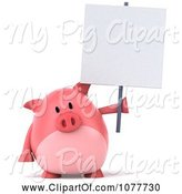 Swine Clipart of 3d Chubby Pig with a Blank Sign 3 by Julos