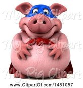 Swine Clipart of 3d Chubby Super Pig, on a White Background by Julos