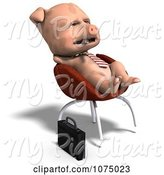 Swine Clipart of 3d Cute Business Pig Relaxing in a Chair by Ralf61