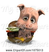 Swine Clipart of 3d Cute Pig in a Cheeseburger by Ralf61