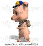 Swine Clipart of 3d Cute Pig Student Walking by Ralf61