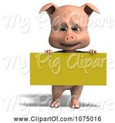Swine Clipart of 3d Cute Pig with a Yellow Sign by Ralf61