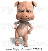 Swine Clipart of 3d Cute Pig with His Hands on His Hips by Ralf61