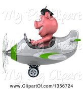 Swine Clipart of 3d French Pig Aviator Pilot Flying a White and Green Airplane, on a White Background by Julos