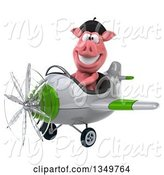 Swine Clipart of 3d French Pig Aviator Pilot Flying a White and Green Airplane to the Left by Julos
