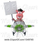 Swine Clipart of 3d French Pig Aviator Pilot Holding a Blank Sign and Flying a White and Green Airplane by Julos